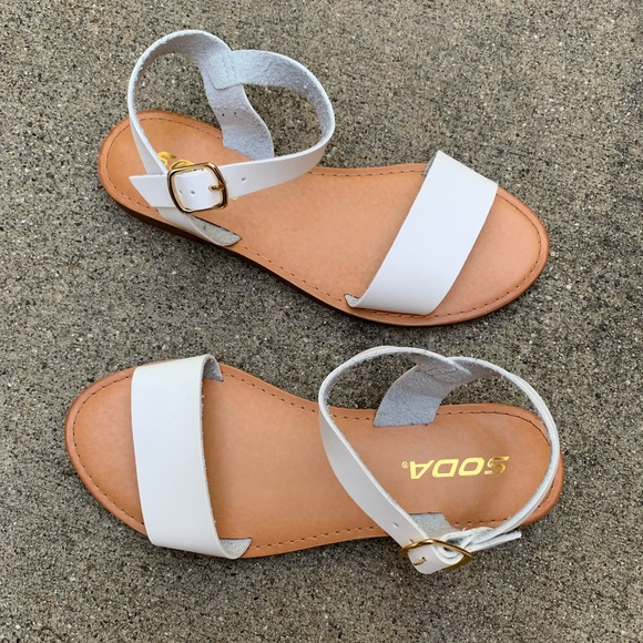 Soda Shoes - Soda Women's White Single Strap Ankle Low Sandal